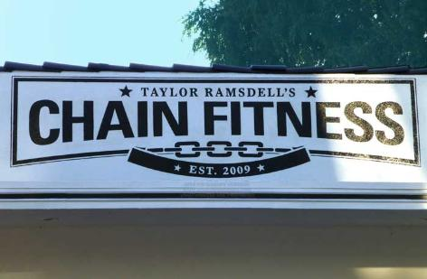 Painted wall sign, Chain Fitness, San Fernando Valley