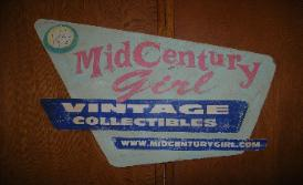 Painted cut-out distressed sign, Mid Century Girl, Los Angeles