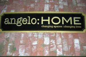 Plywood cut out sign, Angelo Home, Los Angeles