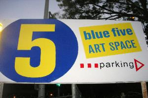 Painted plywood sign, Blue 5 Art Space, Los Angeles