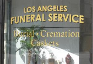 Painted Window sign Los Angeles Funeral Service
