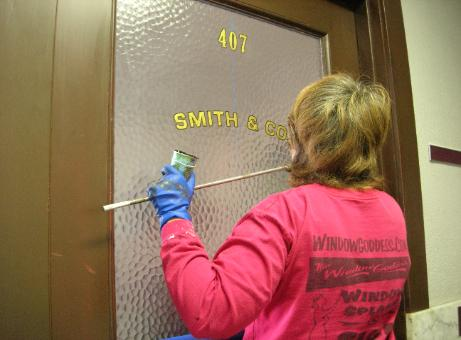 window lettering, hand lettering on windows - Smith Co