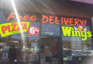 Window Splash Painting Pizza Wings Free Delivery